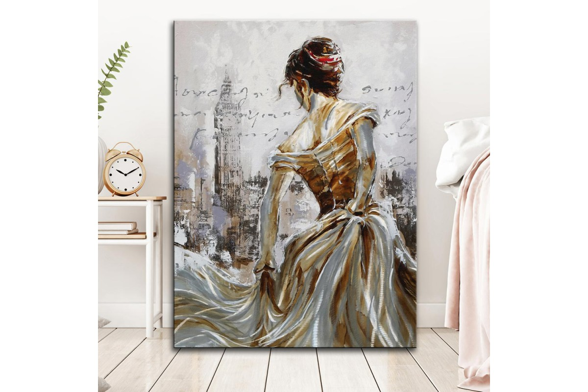 dkm-k59-17 Kadın Londra Yağlı Boya Görünüm Tablo