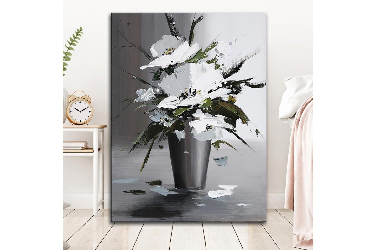 dkm-k59-2 Vazoda Çiçekler Yağlı Boya Görünüm Tablo