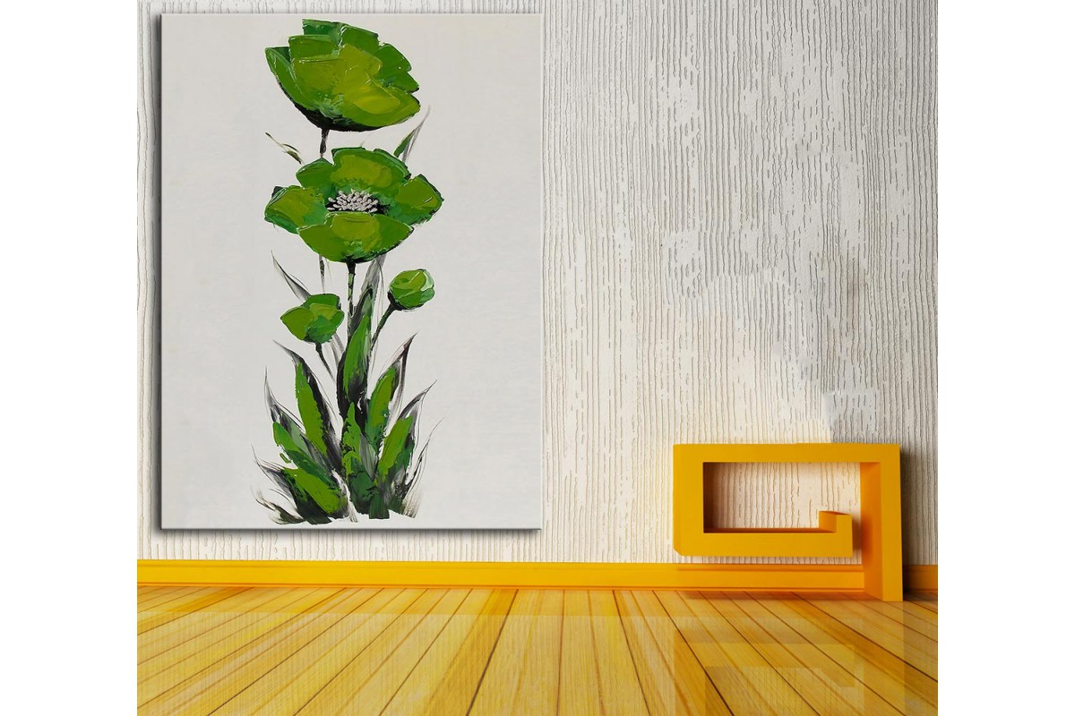 dkm-k59-8 Yeşil Çiçek Yağlı Boya Görünüm Tablo