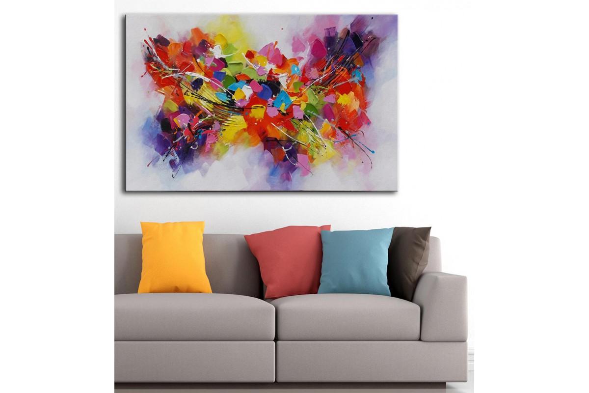 dkm-k59-9 Renkli Çiçekler Yağlı Boya Görünüm Tablo