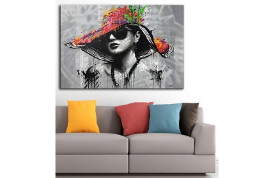dkm-k62-20 Renkli Şapkalı Kadın Yağlı Boya Görünüm Tablo