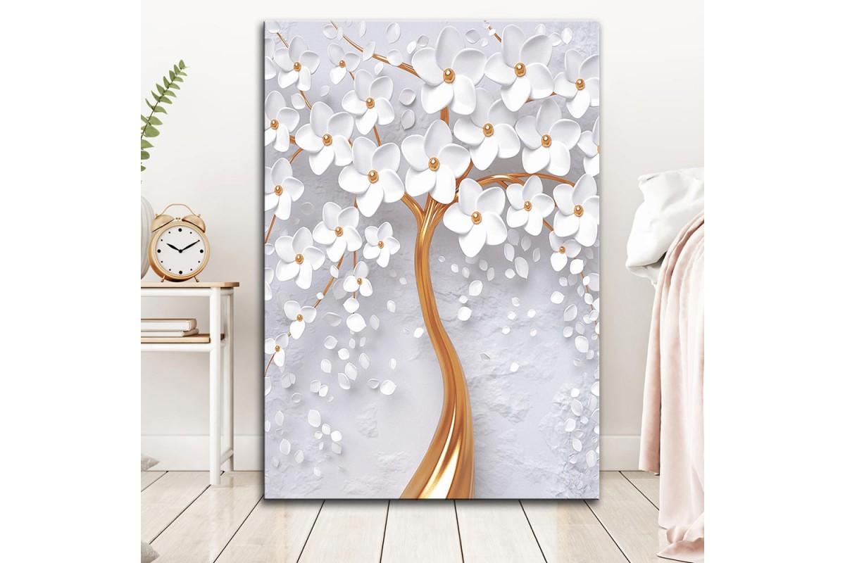 dkm-k62-27 Dekoratif Yapraklar Yağlı Boya Görünüm Tablo