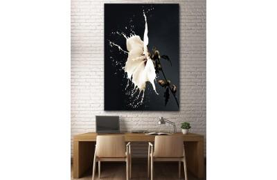 dkm-k62-29 Beyaz ve Çiçek Yağlı Boya Görünüm Tablo