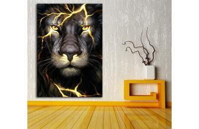 dkm-k62-30 Altın Dövmeli Aslan Yağlı Boya Görünüm Tablo