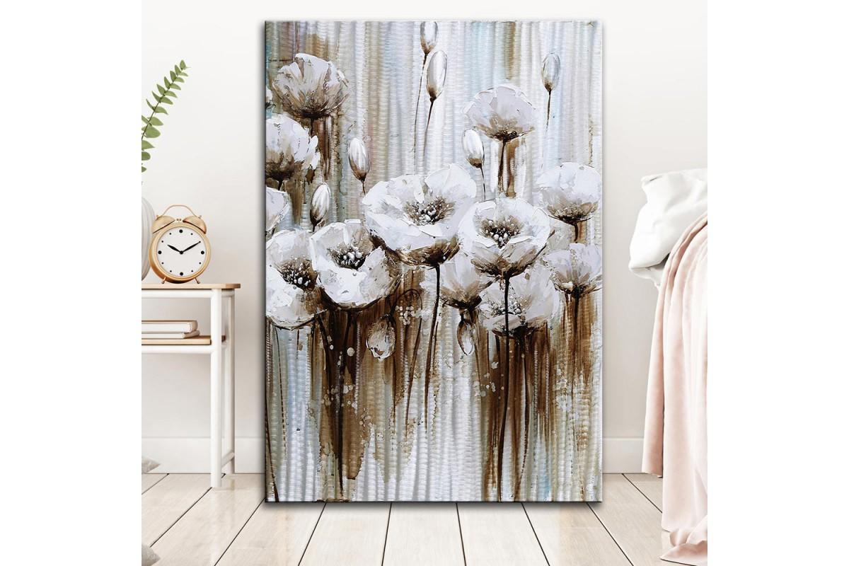 dkm-k62-33 Beyaz Çiçekler Yağlı Boya Görünüm Tablo