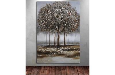 dkm-k62-34 Ağaçlar Yağlı Boya Görünüm Tablo