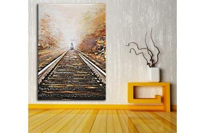 dkm-k62-35 Treni Beklerken Yağlı Boya Görünüm Tablo