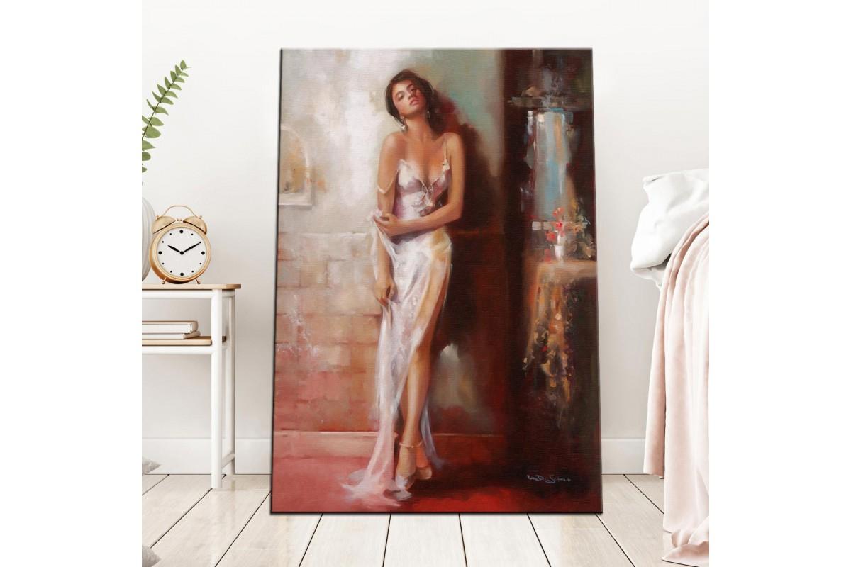 Duvardaki Kadın Yağlı Boya Görünüm Kanvas Tablo dkm-k60-1
