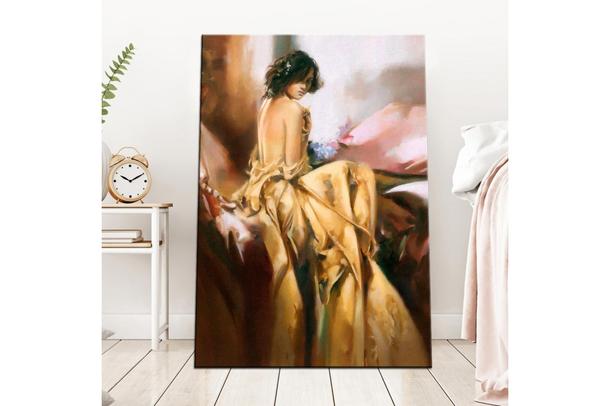 Saten ve Kadın Yağlı Boya Görünüm Kanvas Tablo dkm-k60-2