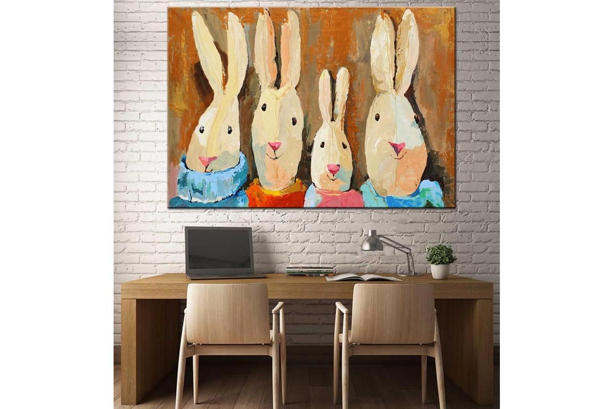 Tavşanlar Yağlı Boya Görünüm Kanvas Tablo dkm-k61-10