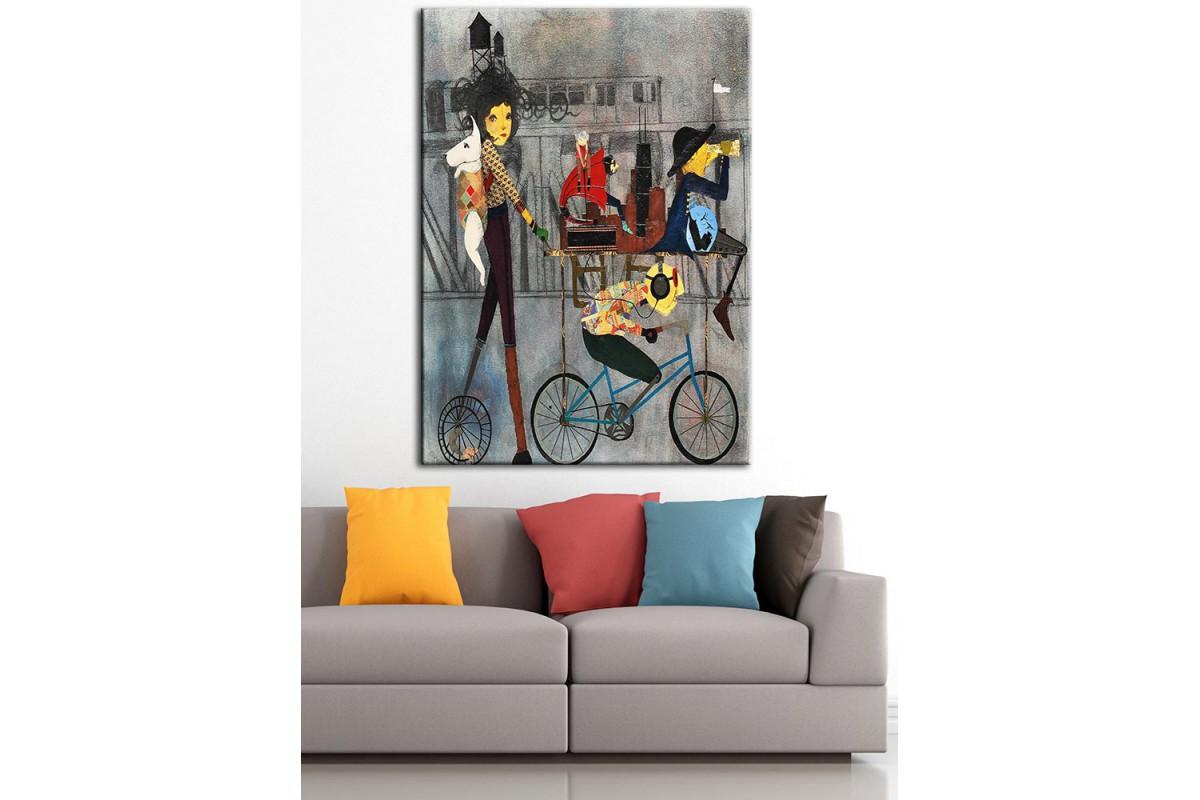 Bisiklet Köpek ve Kız  Yağlı Boya Görünüm Kanvas Tablo dkm-k61-106