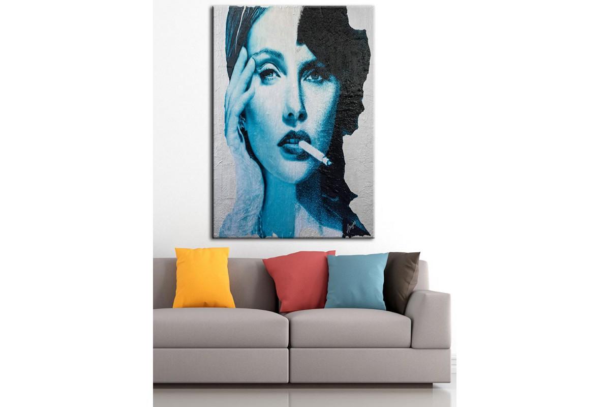 Kadın Yüz Mavi  Yağlı Boya Görünüm Kanvas Tablo dkm-k61-114
