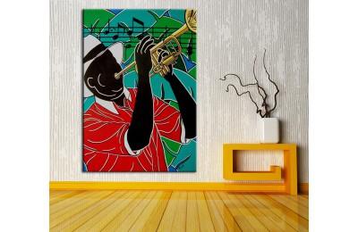 Müzisyen  Yağlı Boya Görünüm Kanvas Tablo dkm-k61-116