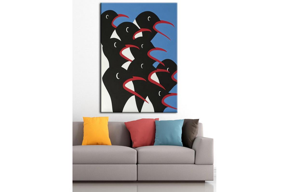 Penguenler  Yağlı Boya Görünüm Kanvas Tablo dkm-k61-119