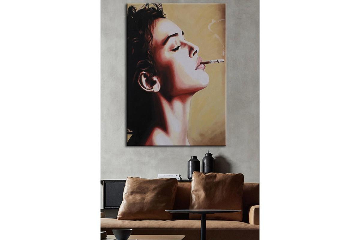 Sigara İçen Kadın  Yağlı Boya Görünüm Kanvas Tablo dkm-k61-120