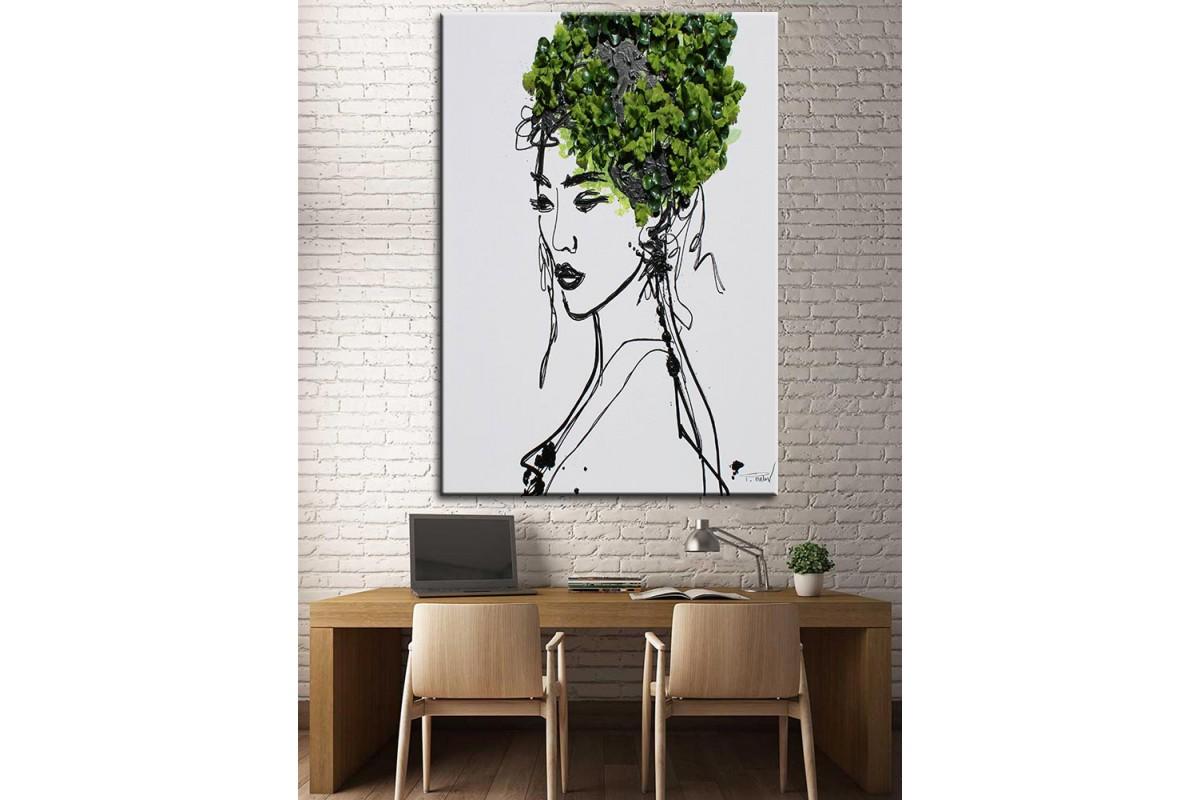 Çiçekli Kadın  Yağlı Boya Görünüm Kanvas Tablo dkm-k61-127
