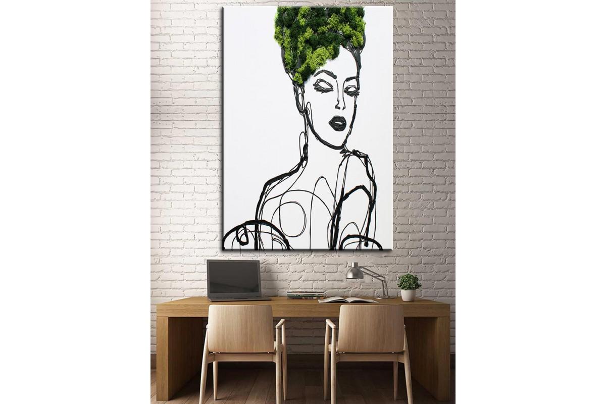 Çiçekli Kadın  Yağlı Boya Görünüm Kanvas Tablo dkm-k61-128