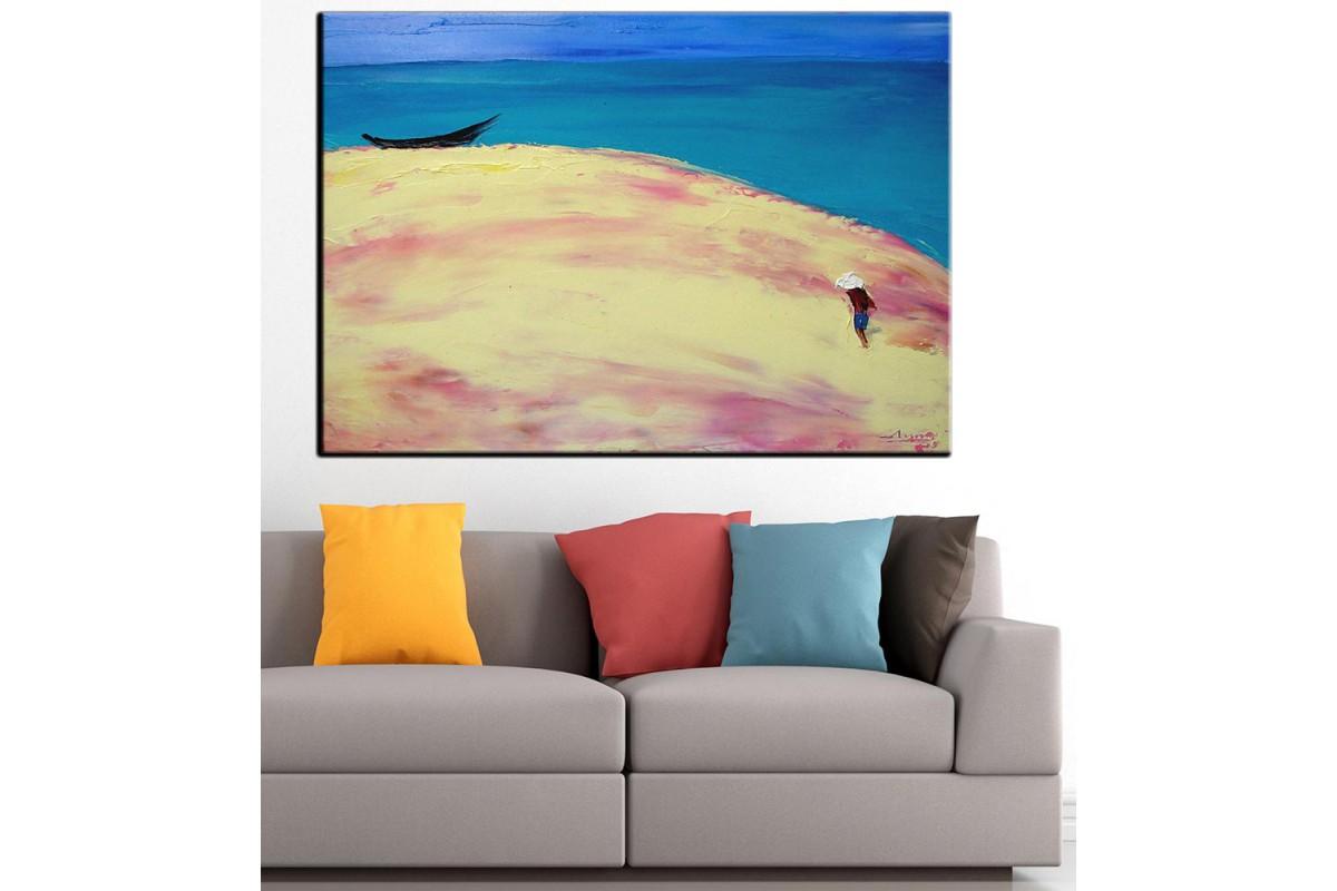 Plaj Yağlı Boya Görünüm Kanvas Tablo dkm-k61-13