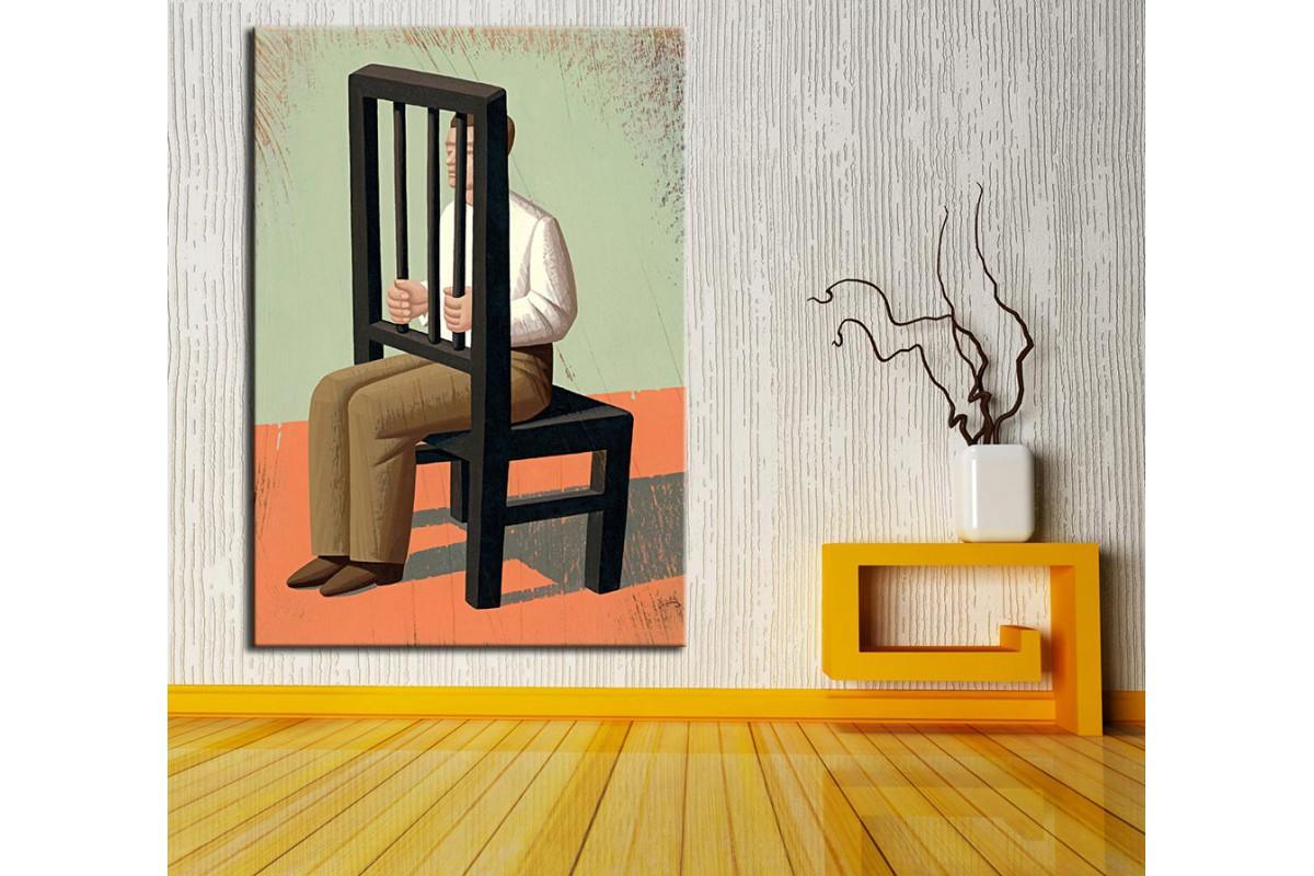 Sandalye Sanatsal  Yağlı Boya Görünüm Kanvas Tablo dkm-k61-133