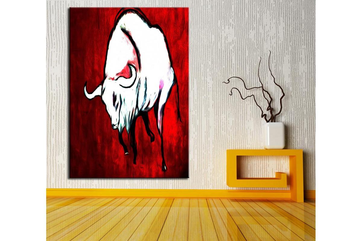 Boğa  Yağlı Boya Görünüm Kanvas Tablo dkm-k61-136