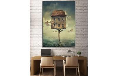 Sanatsal Ev  Yağlı Boya Görünüm Kanvas Tablo dkm-k61-137