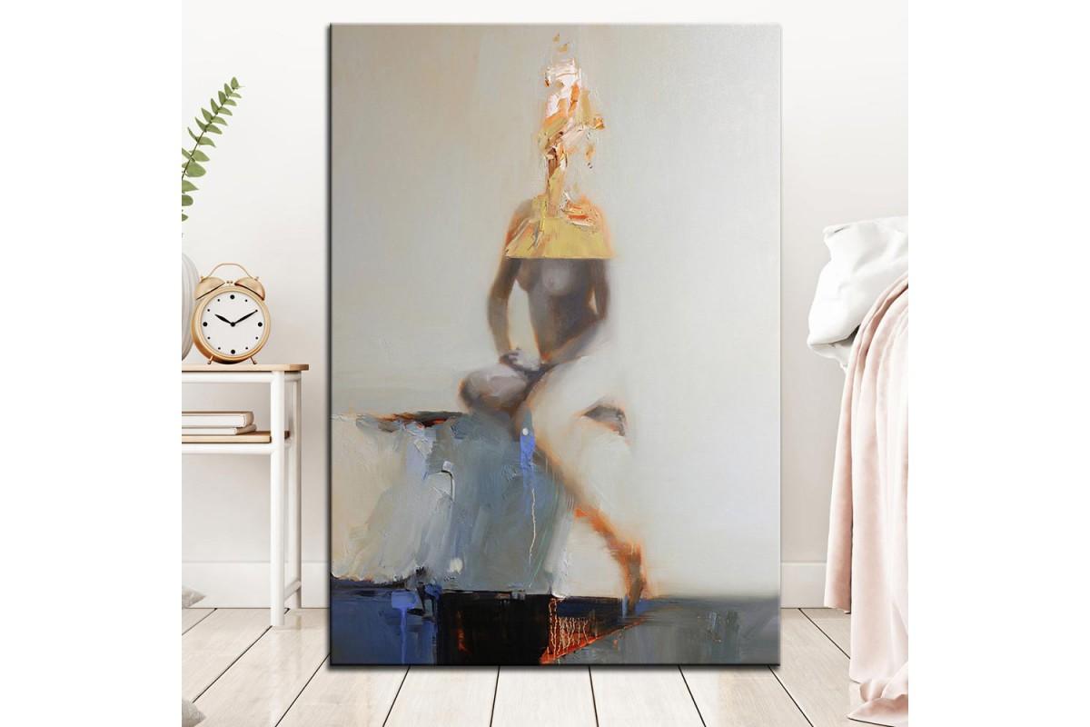 Nü Kadın  Yağlı Boya Görünüm Kanvas Tablo dkm-k61-139
