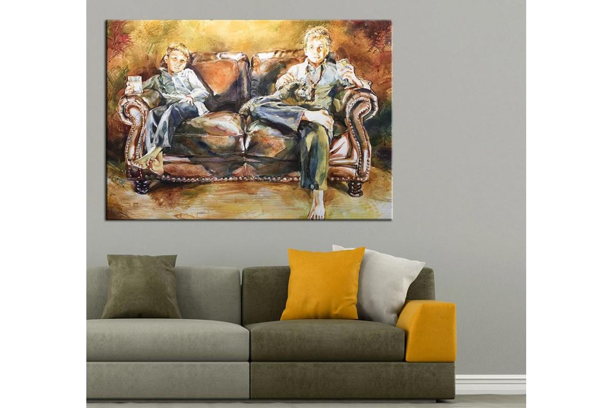 Aile Yağlı Boya Görünüm Kanvas Tablo dkm-k61-14