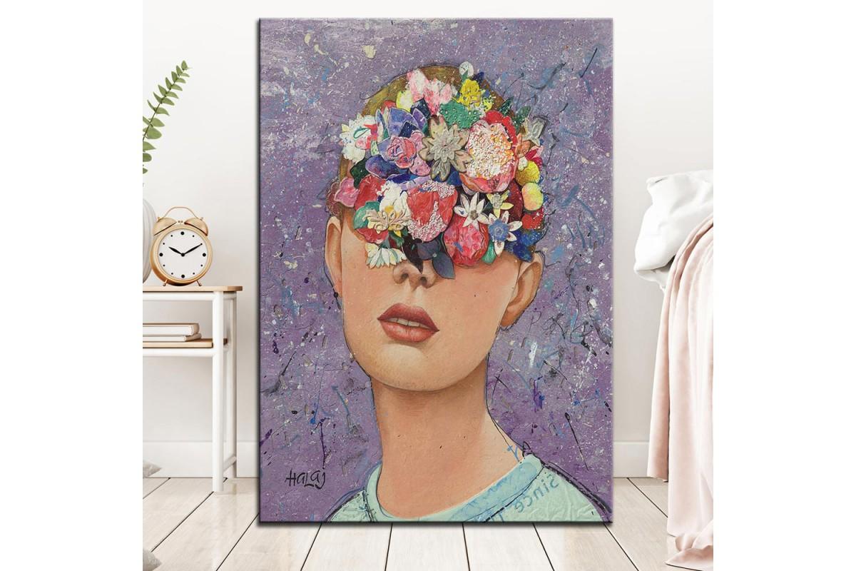 Çiçekli Yüz  Yağlı Boya Görünüm Kanvas Tablo dkm-k61-141