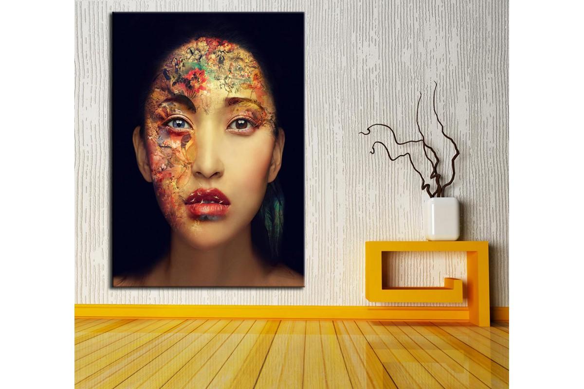 Kadın ve Çiçekler Kanvas Tablo dkm-k61-143