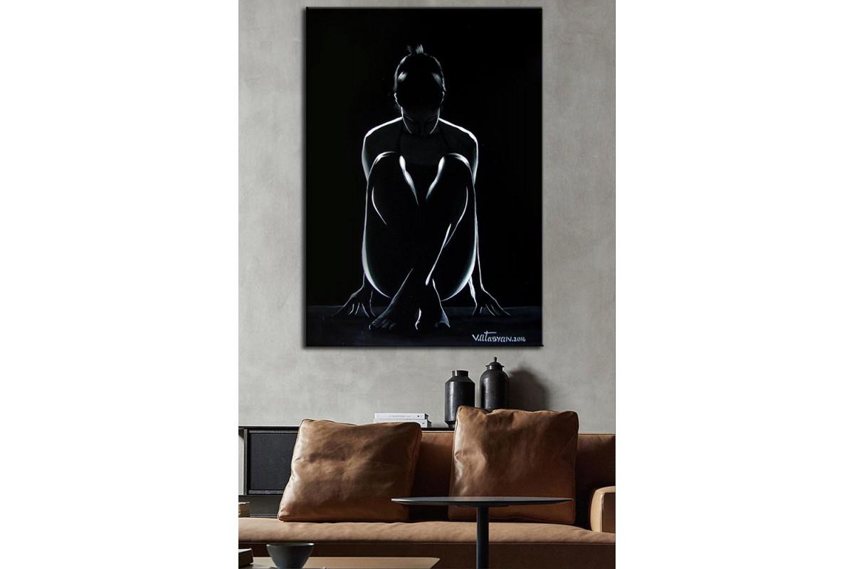 Kadın Siyah  Yağlı Boya Görünüm Kanvas Tablo dkm-k61-147