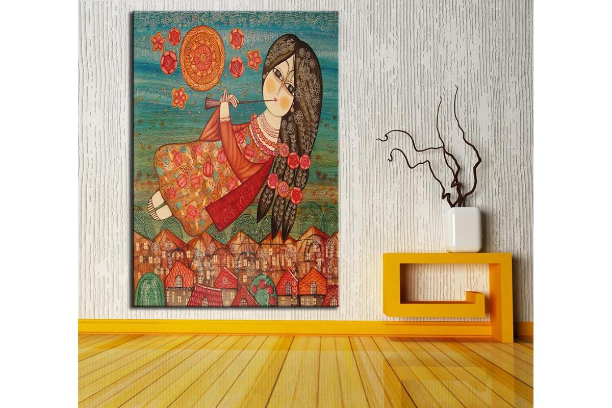 Flüt Çalan Kız  Yağlı Boya Görünüm Kanvas Tablo dkm-k61-148