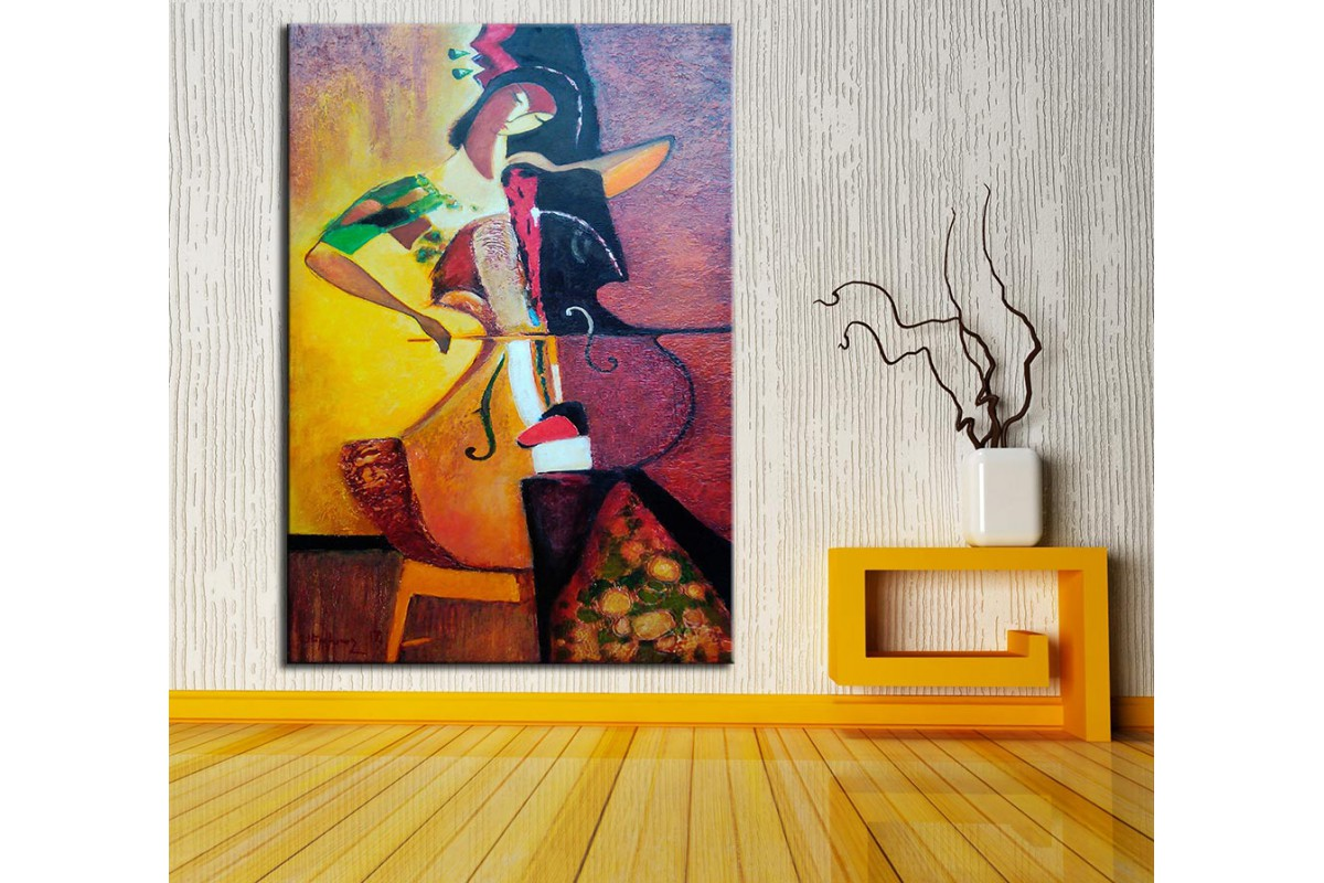 Müzisyen Kadın  Yağlı Boya Görünüm Kanvas Tablo dkm-k61-150