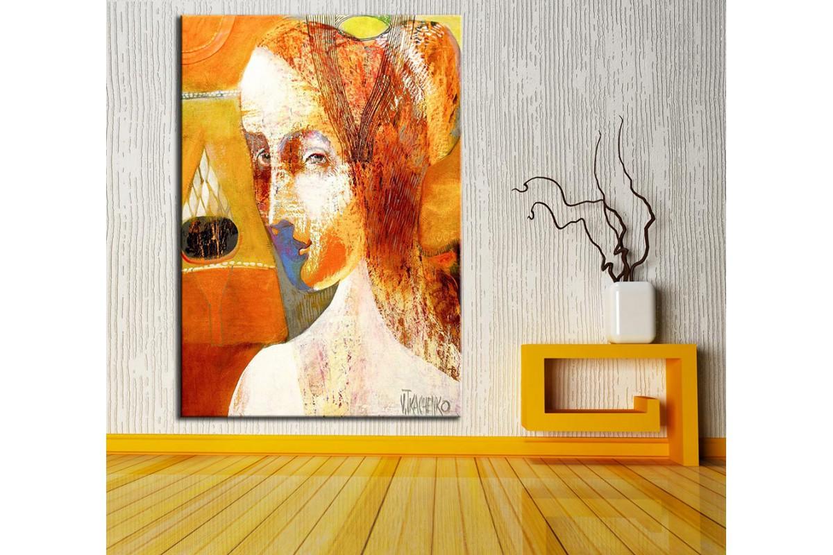 Kadın Yüz Mavi  Yağlı Boya Görünüm Kanvas Tablo dkm-k61-153