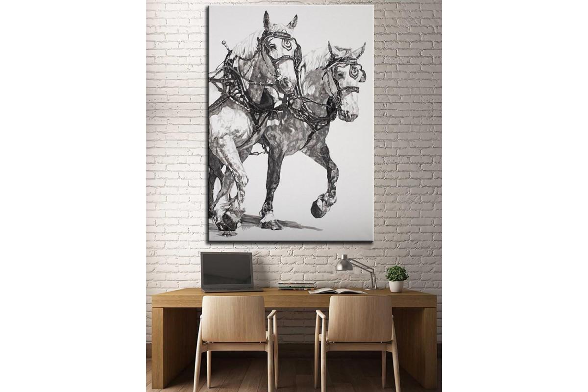 At Arabası  Yağlı Boya Görünüm Kanvas Tablo dkm-k61-154