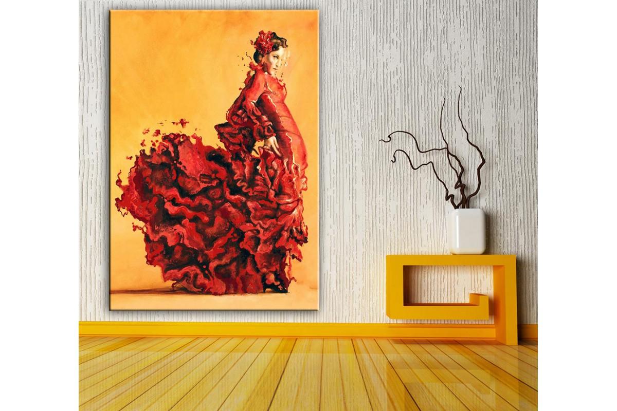 Flamenko Dansçı Kadın  Yağlı Boya Görünüm Kanvas Tablo dkm-k61-158