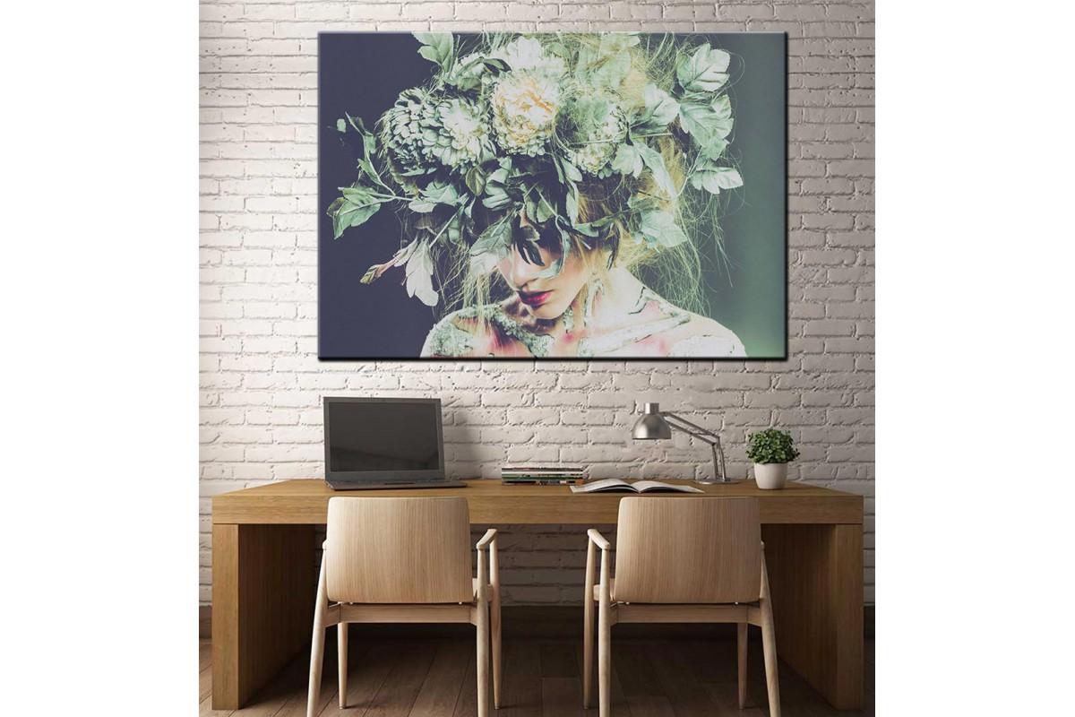 Çiçekli Kadın Yağlı Boya Görünüm Kanvas Tablo dkm-k61-16