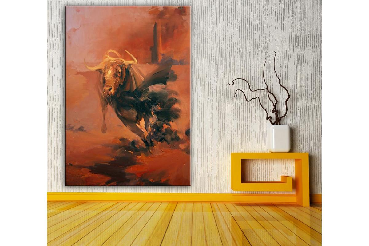 Boğa  Yağlı Boya Görünüm Kanvas Tablo dkm-k61-163
