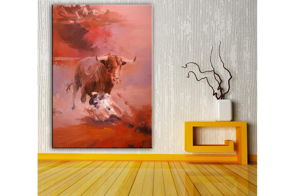 Boğa  Yağlı Boya Görünüm Kanvas Tablo dkm-k61-164