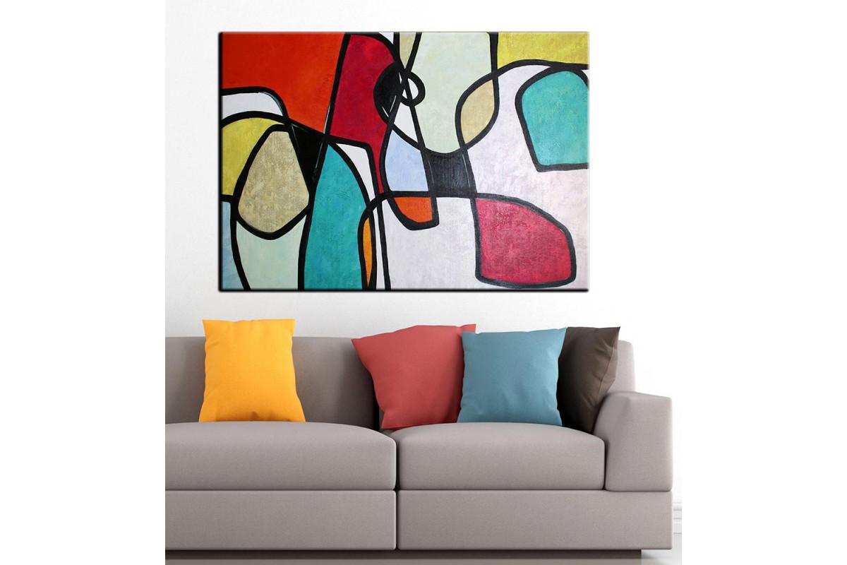 Soyut Sanatsal Yağlı Boya Görünüm Kanvas Tablo dkm-k61-18