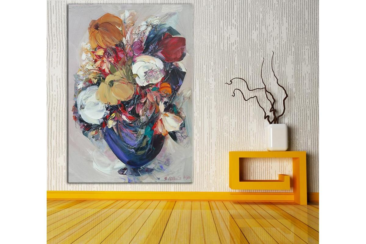 Çiçekler  Yağlı Boya Görünüm Kanvas Tablo dkm-k61-181