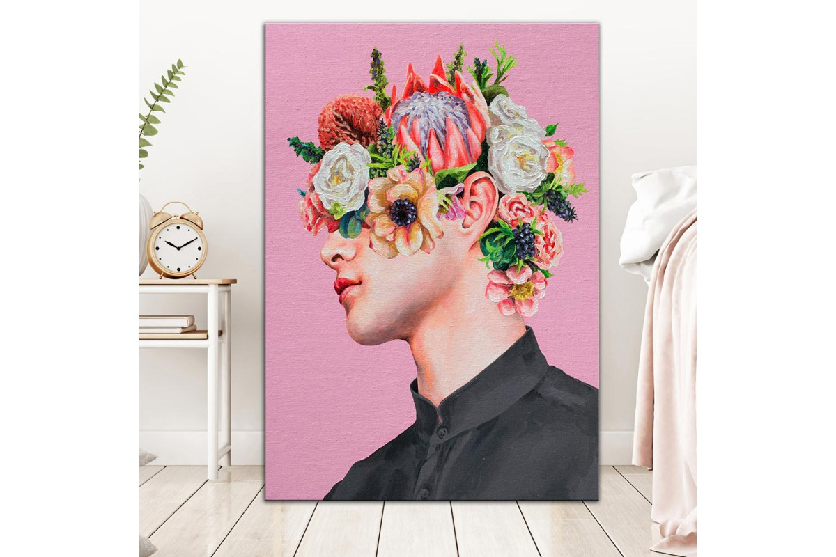 Çiçekler ve Yüz  Yağlı Boya Görünüm Kanvas Tablo dkm-k61-182
