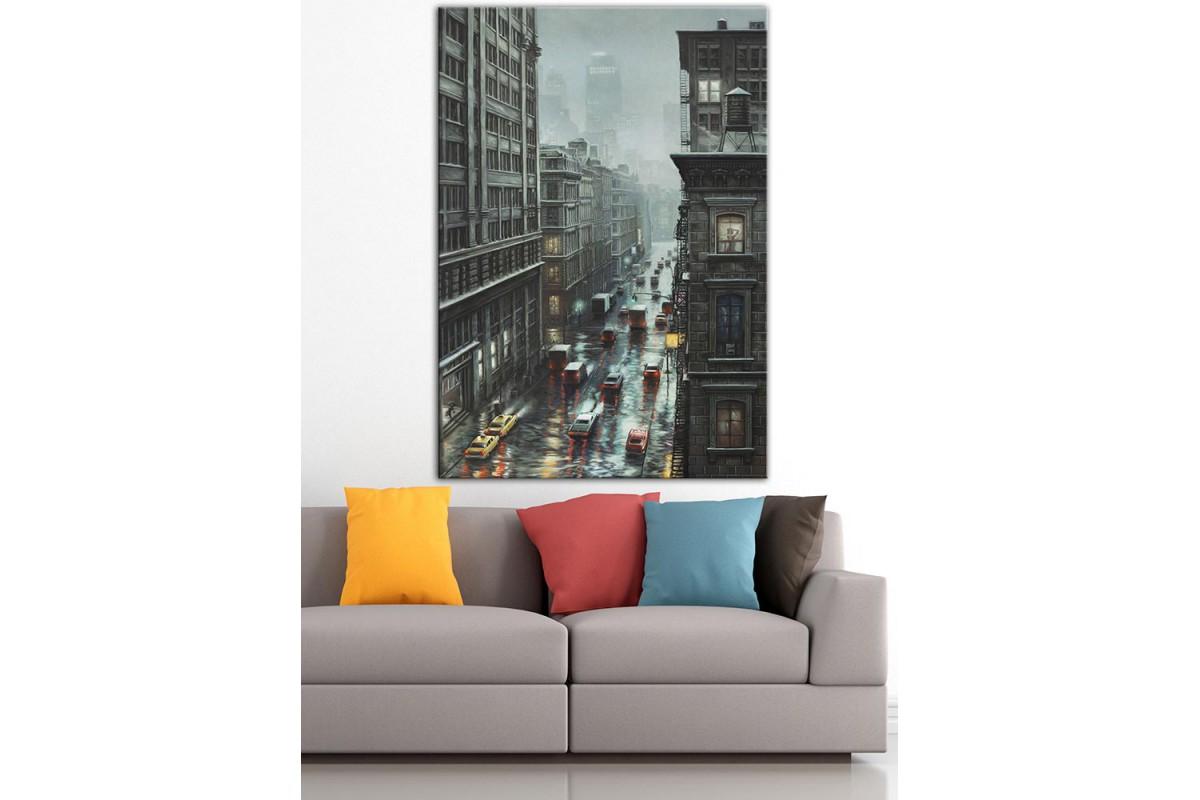 Şehir Trafik  Yağlı Boya Görünüm Kanvas Tablo dkm-k61-185