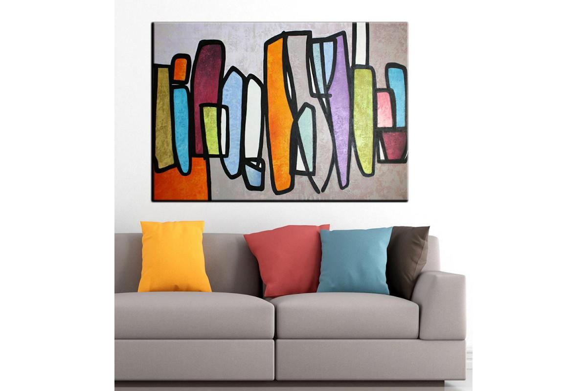 Soyut Sanatsal Yağlı Boya Görünüm Kanvas Tablo dkm-k61-19
