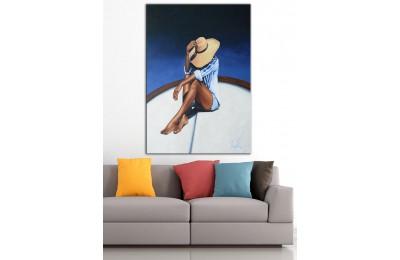 Şapkalı Kadın  Yağlı Boya Görünüm Kanvas Tablo dkm-k61-193