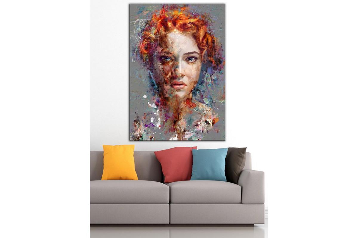Kızıl Saçlı Kadın  Yağlı Boya Görünüm Kanvas Tablo dkm-k61-198
