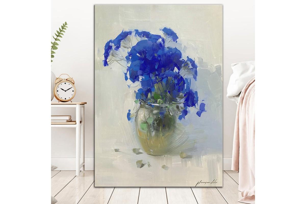 Mavi Çiçekler  Yağlı Boya Görünüm Kanvas Tablo dkm-k61-200
