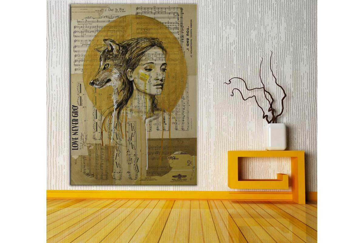 Kadın ve Kurt  Yağlı Boya Görünüm Kanvas Tablo dkm-k61-204