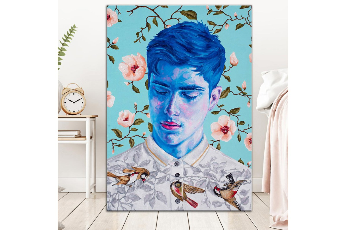 Çiçekler ve Mavi  Yağlı Boya Görünüm Kanvas Tablo dkm-k61-205