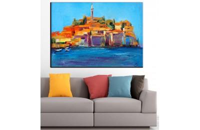 Sahil Kasabası Yağlı Boya Görünüm Kanvas Tablo dkm-k61-35
