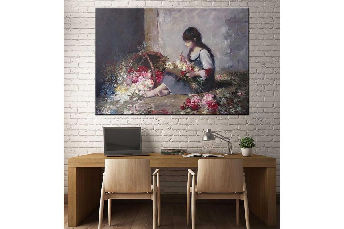 Çiçekçi Yağlı Boya Görünüm Kanvas Tablo dkm-k61-46